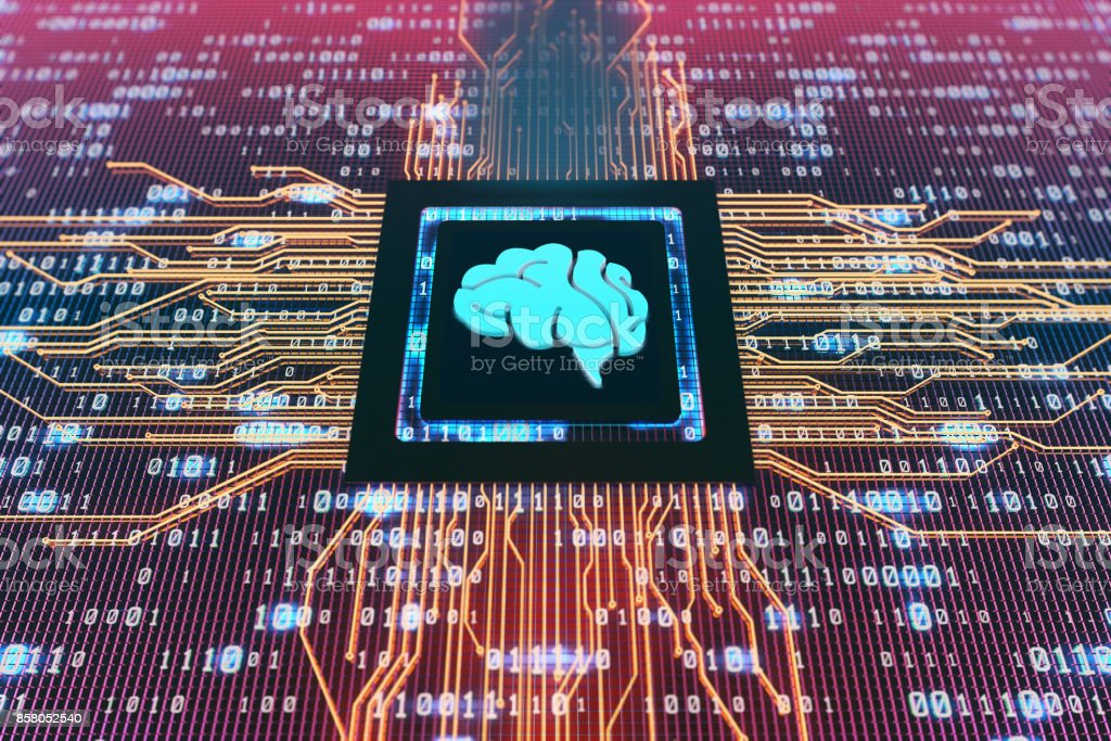 Digital electronic components, circuit boards, technology age, the brain stock photo