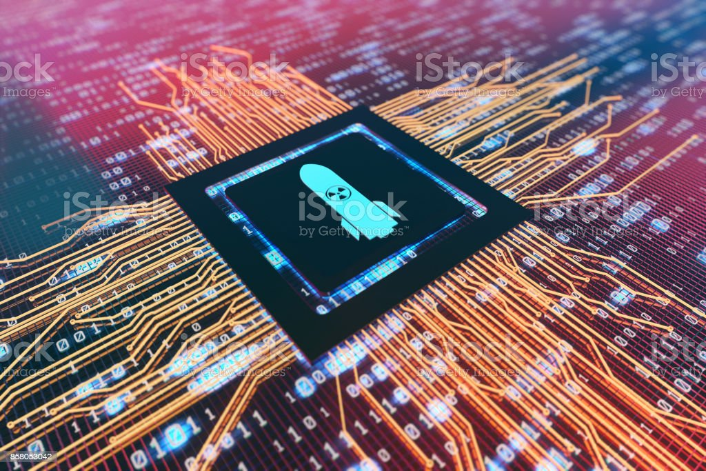 Digital electronic components, circuit boards, technology era, missiles stock photo
