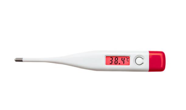 Digitales elektronisches Thermometer mit rotem LED-Bildschirm informiert über hohe Gefahrentemperatur – Foto