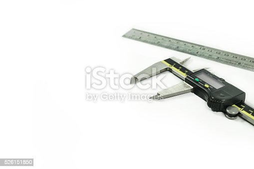 istock Digital Electronic Vernier Caliper and ruler, isolated on white 526151850