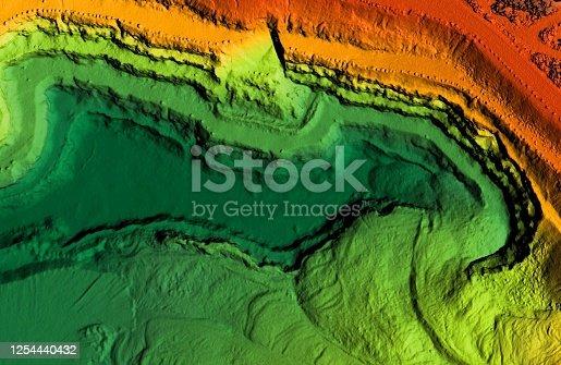 istock DEM - digital elevation model of a excavation site 1254440432
