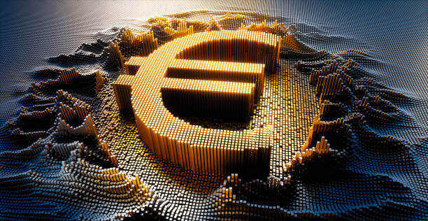 Digital Euro currency Symbol Euro currency Symbol in a digital raster microstructure - 3d illustration european union currency stock pictures, royalty-free photos & images