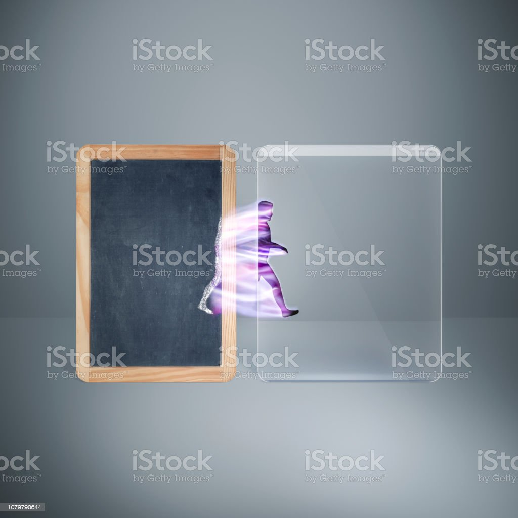 digital evolution blackboard to tablet stock photo