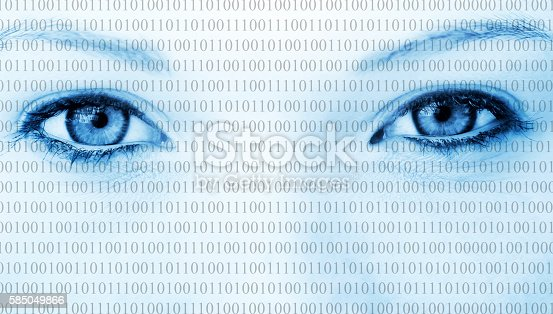 Eyes of a woman with binary code