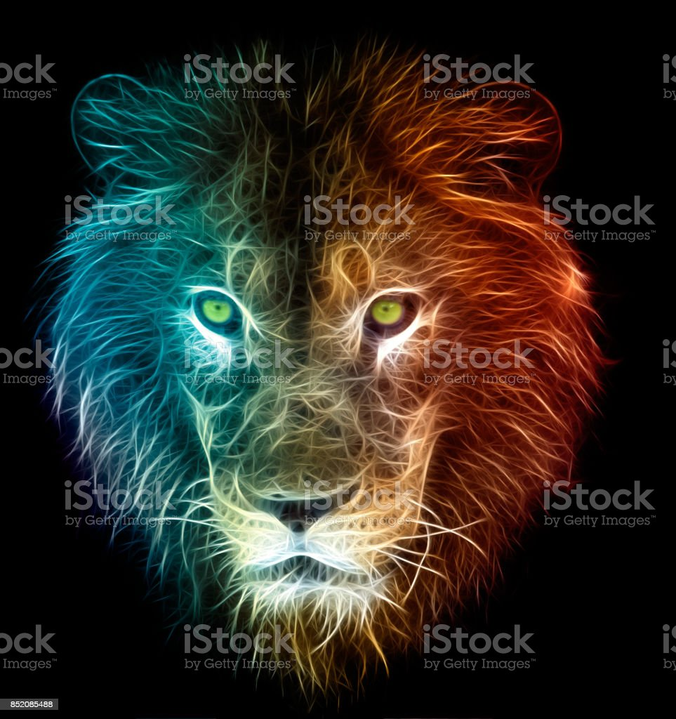 Digital fantasy art of a lion stock photo