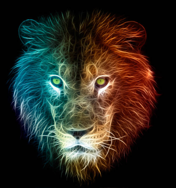 digital fantasy art of a lion - abstract logo stock photos and pictures