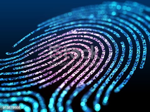 803260946 istock photo Digital fingerprint on black screen. 913879566