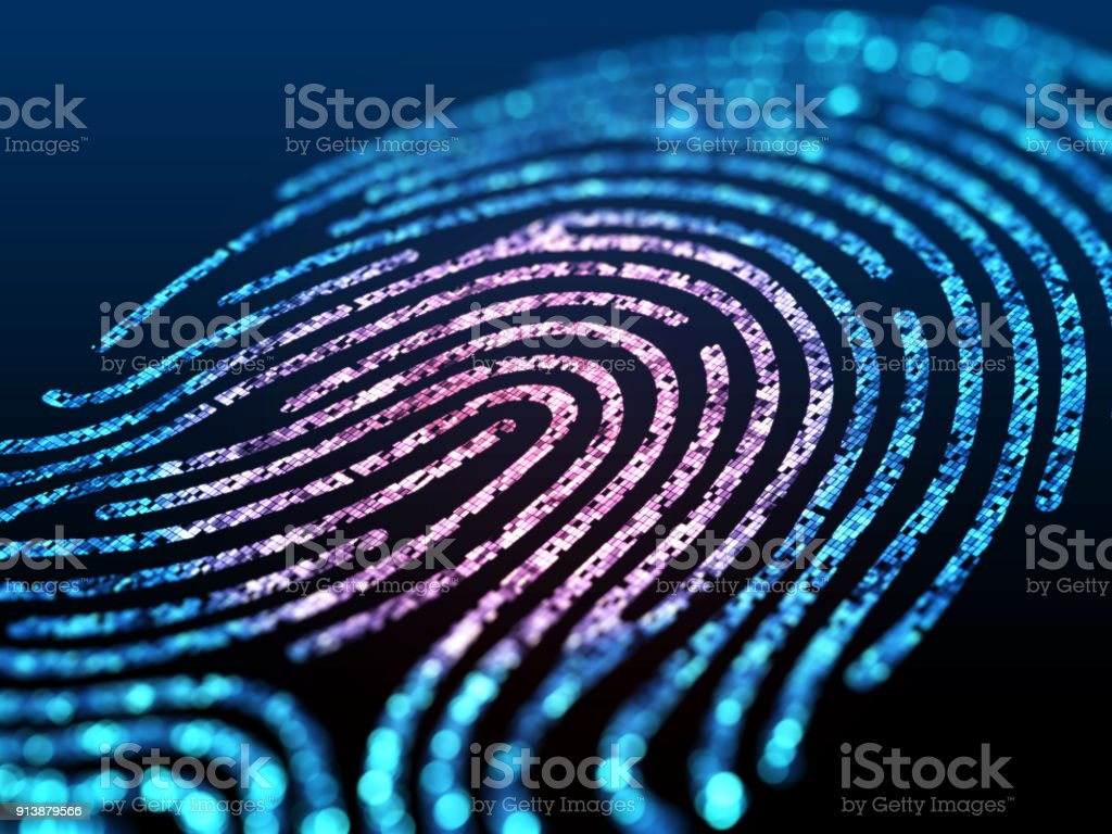 Digital fingerprint on black screen. stock photo