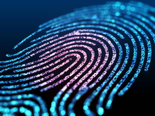 digital fingerprint on black screen. - identity stock photos and pictures