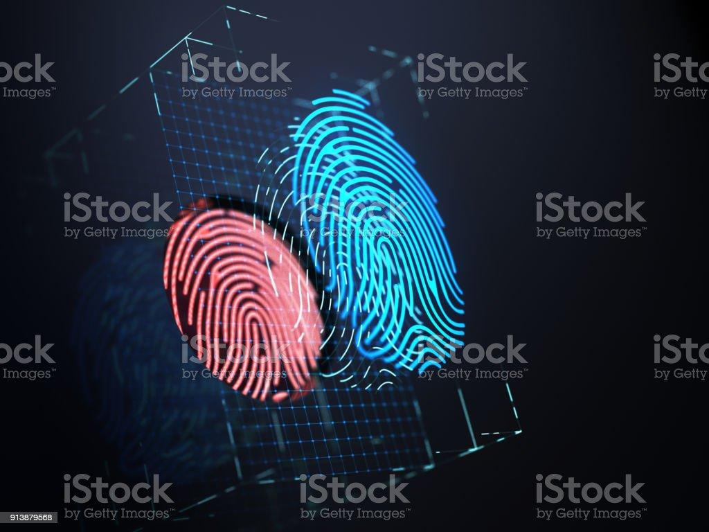 Digital fingerprint on black screen. stock photo