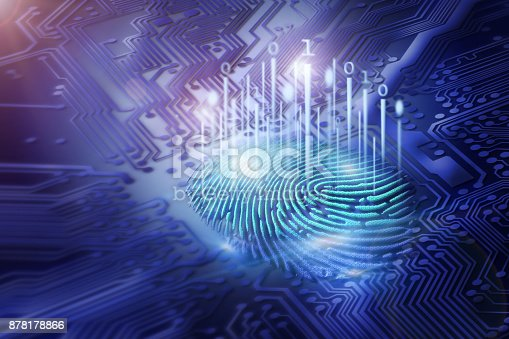 istock digital fingerprint on motherboard backgrounds, digital security and access concepts 878178866