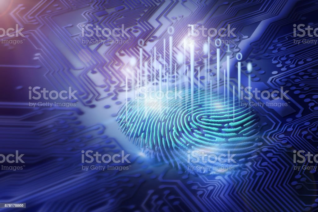 digital fingerprint on motherboard backgrounds, digital security and access concepts stock photo