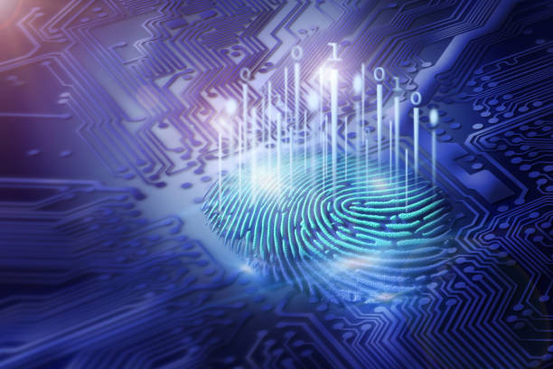 digital fingerprint on motherboard backgrounds, digital security and access concepts - identity stock photos and pictures