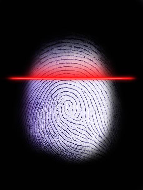 Digital Fingerprint Scanner on Black 2 stock photo