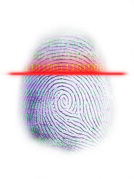 Digital Fingerprint Scanner on White stock photo