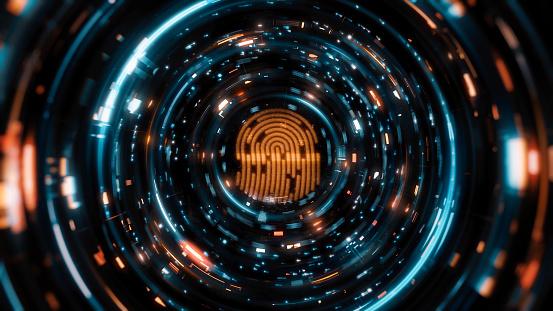 Digital work of fingerprint digital panel during scanning and verification process on futuristic background.