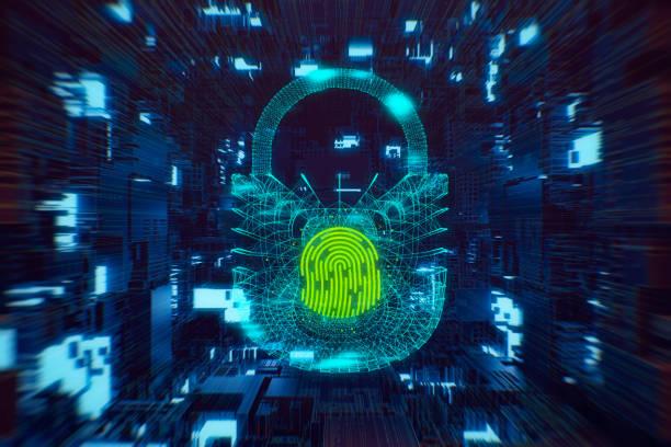 Digital fingerprint scanning verification process stock photo