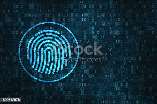 istock Digital fingerprint security concept, binary digits background 690642978