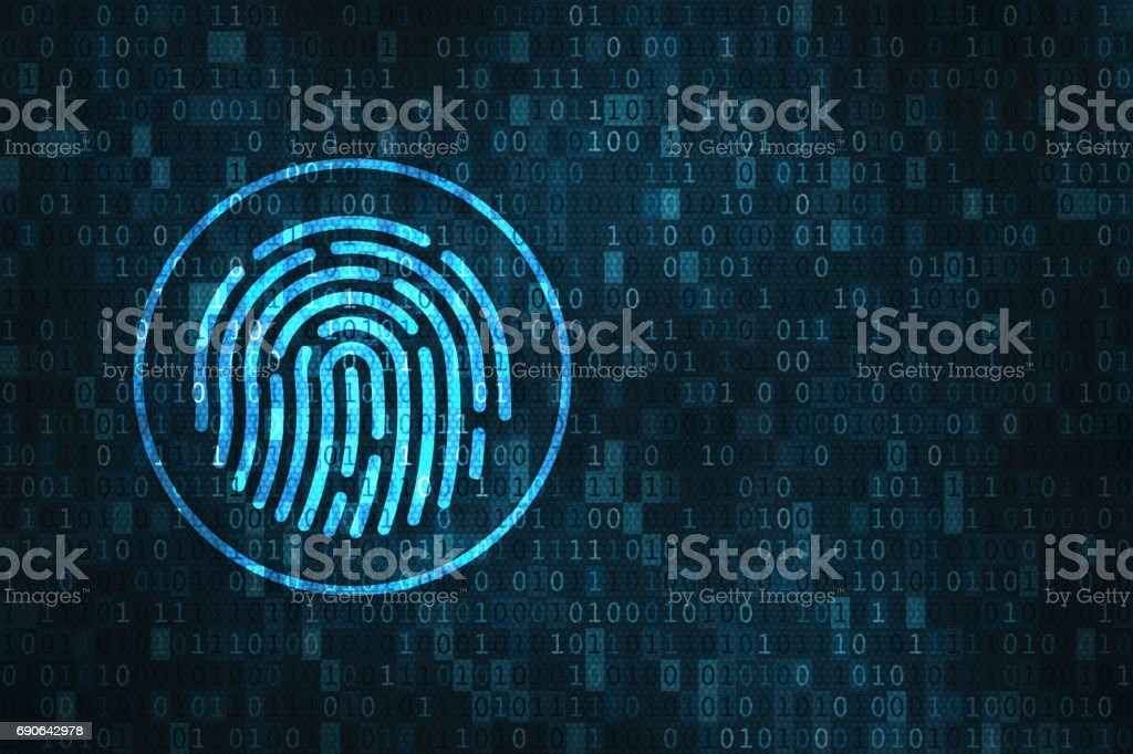 Digital fingerprint security concept, binary digits background stock photo