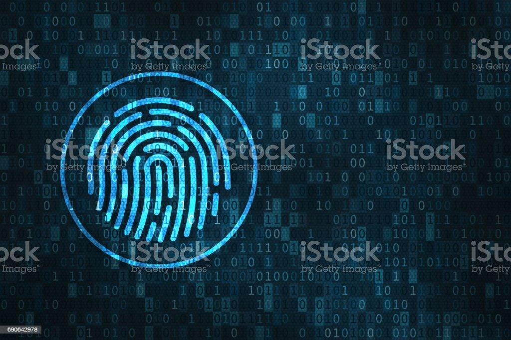 Digital fingerprint security concept, binary digits background stock photo