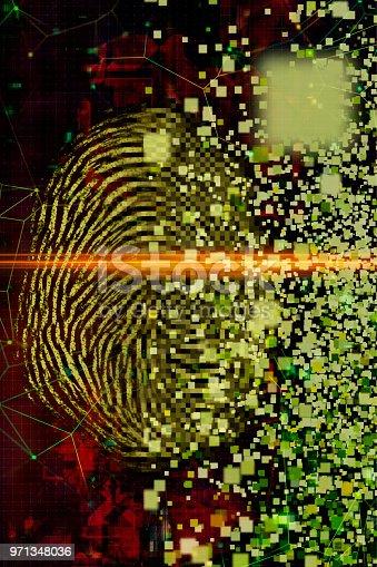 istock Digital fingerprint security concept 971348036