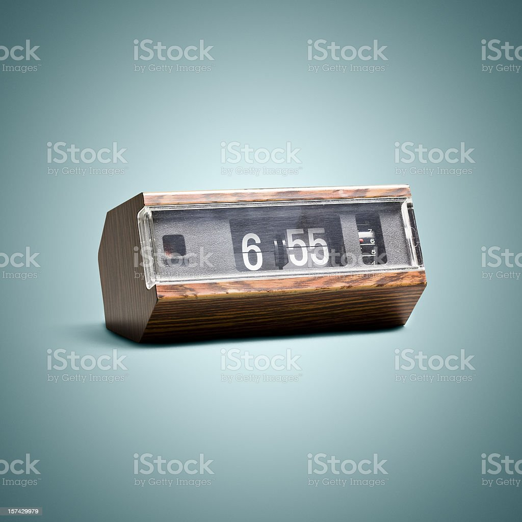 Digital flip clock. Time Vintage Style Art Background stock photo