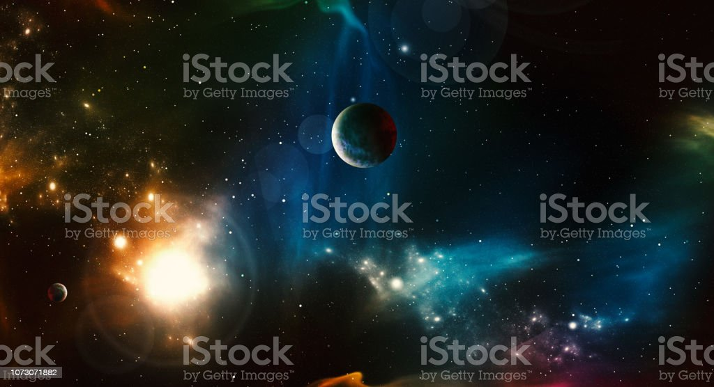Digital Generated Space Scene with Nebula and Stars Digital Generated Space Scene with Nebula and Stars Abstract Stock Photo