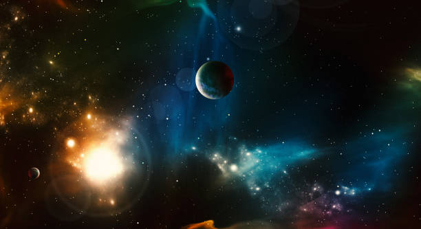 Digital Generated Space Scene with Nebula and Stars Digital Generated Space Scene with Nebula and Stars planet space stock pictures, royalty-free photos & images
