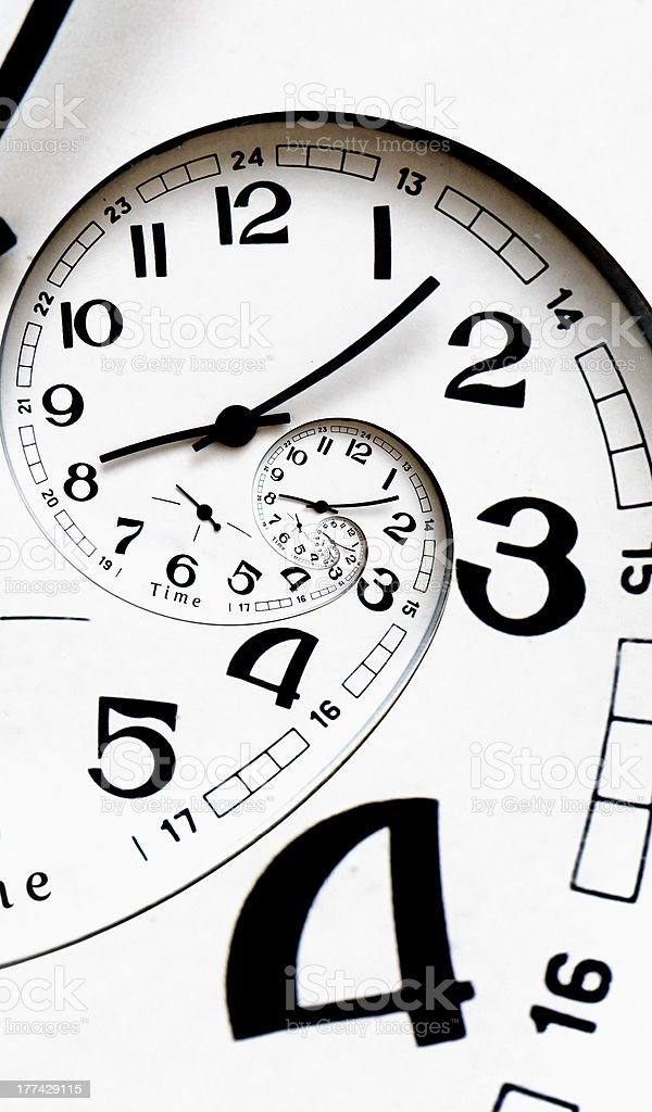 Digital generated twisted clock face. stock photo