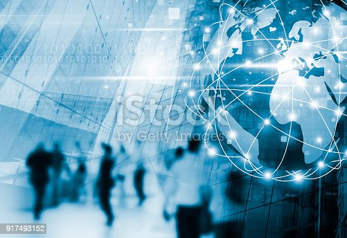istock Digital global business network connection and people walking in the city with technology design 917493152