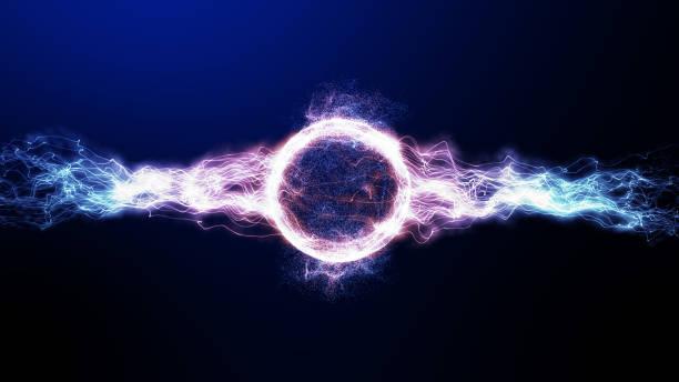 3d digital global smart world thunder neon färg ljus med ray ljus lysande i rymden, framtida digitala 5g dataöverföring hög hastighet internet teknik för nystartade företag finansiella investeringar - earth from space bildbanksfoton och bilder