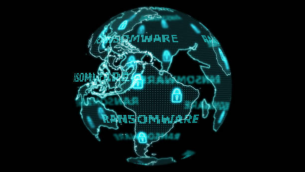 Digital global world map technology research develpoment analysis to ransomware attack south america stock photo