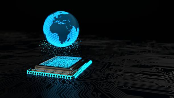 A digital globe about a microchip. 3d illustration. A digital globe about a microchip. 3d illustration. digitized stock pictures, royalty-free photos & images
