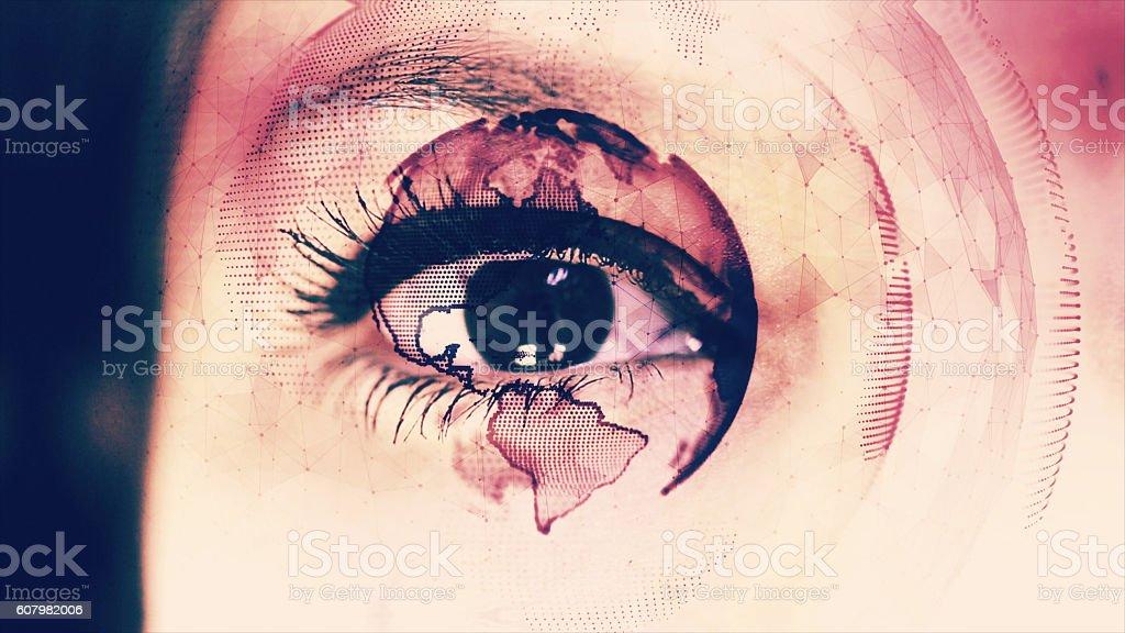 Digital Globe Around Close up of an Eye stock photo