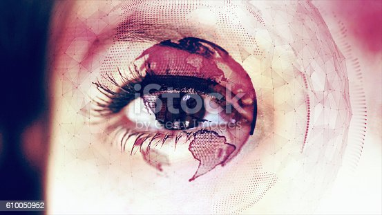 istock Digital Globe Around Close up of an Eye 610050952
