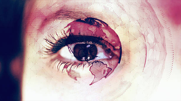 digital globe around close up of an eye - 3d wimpern stock-fotos und bilder