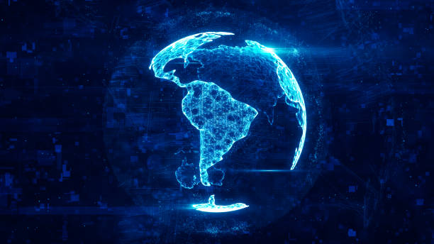 Digital globe made of plexus bright glowing lines. Detailed virtual planet earth. Technology structure of connected lines, dots and particles forming world. South america continent. 3d rendering Digital globe latin america stock pictures, royalty-free photos & images