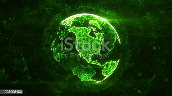 istock Digital globe made of plexus bright glowing lines. Detailed virtual planet earth. Technology structure of connected lines, dots and particles forming world. North america continent. 3d rendering 1208006403