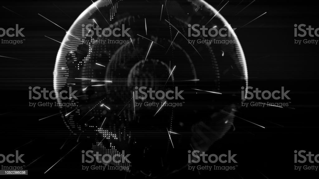 Globo digital, mundo terra feita com partículas - foto de acervo