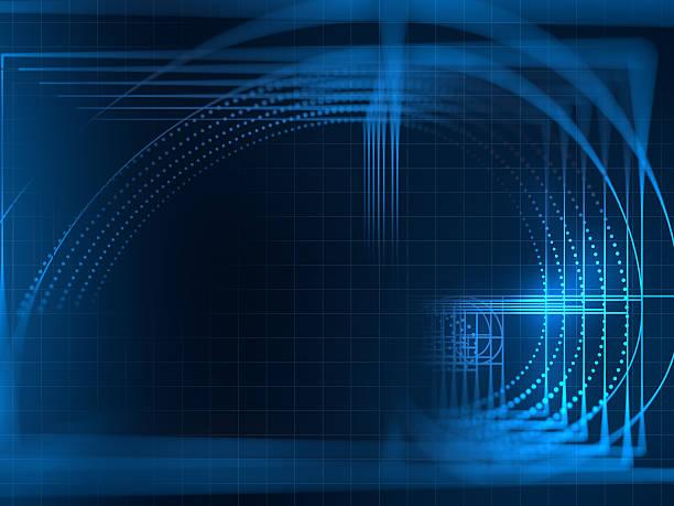 digital golden ratio on abstract technology background - 重複螺旋型 個照片及圖片檔