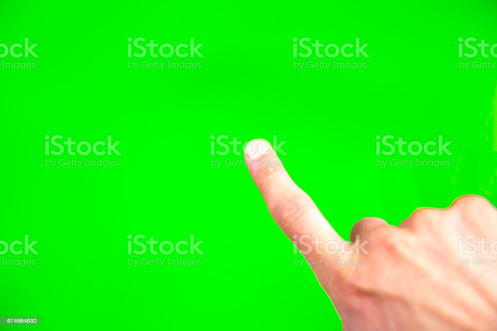 Digital green screen man hand stock photo