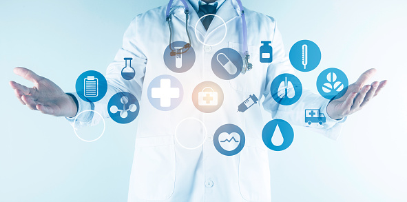 927897070 istock photo Digital healthcare and network connection on hologram modern virtual screen interface, medical technology and network conce 1212293982