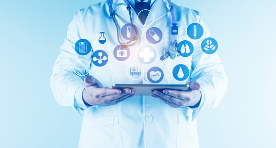 927897070 istock photo Digital healthcare and network connection on hologram modern virtual screen interface, medical technology and network conce 1212293985