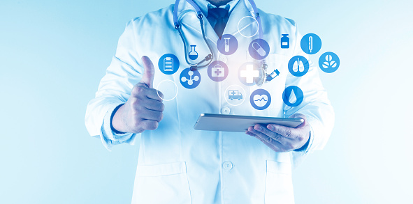 927897070 istock photo Digital healthcare and network connection on hologram modern virtual screen interface, medical technology and network conce 1212293990