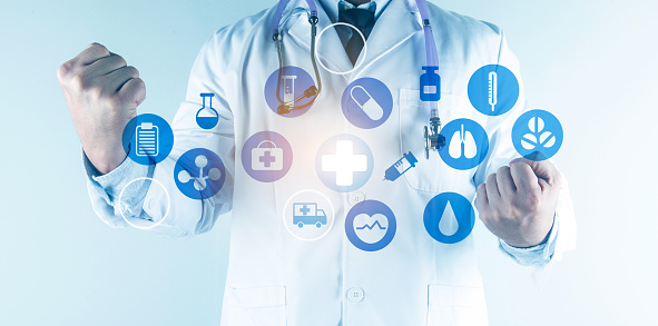 927897070 istock photo Digital healthcare and network connection on hologram modern virtual screen interface, medical technology and network conce 1212294006