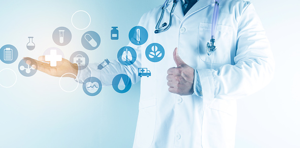 927897070 istock photo Digital healthcare and network connection on hologram modern virtual screen interface, medical technology and network conce 1212294010