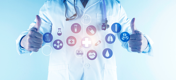 927897070 istock photo Digital healthcare and network connection on hologram modern virtual screen interface, medical technology and network conce 1212294011