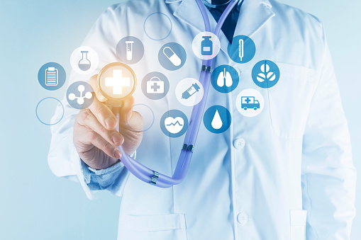 927897070 istock photo Digital healthcare and network connection on hologram modern virtual screen interface, medical technology and network conce 1212294039