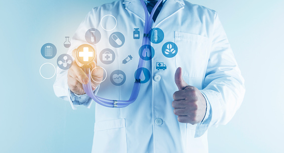 927897070 istock photo Digital healthcare and network connection on hologram modern virtual screen interface, medical technology and network conce 1212294040