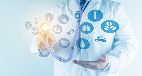 927897070 istock photo Digital healthcare and network connection on hologram modern virtual screen interface, medical technology and network conce 1212294044